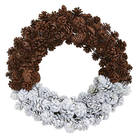 nearly natural 20 in frosted pine cone wreath 4181 the