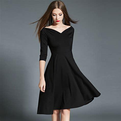 next boat neck dress elegant fashion women black dresses solid color boat neck