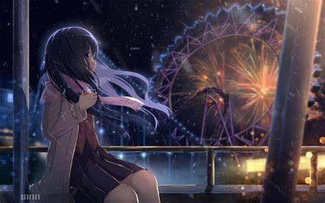 wallpaper anime girl fireworks scenic amusement park