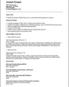data processor resume exle free templates collection