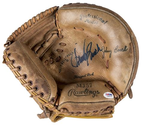 johnny bench catchers mitt lot detail johnny bench autographed rawlings mj57 model
