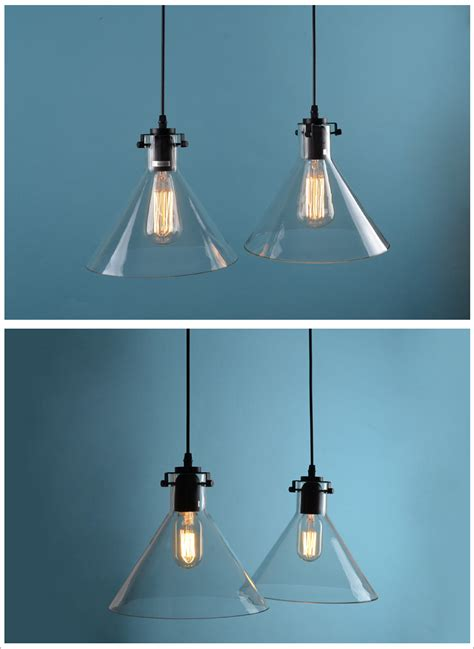 Light Fixture Restoration Clear Glass Funnel Pendant Ceiling L Restoration Light Fixture Chandelier E27 Ebay