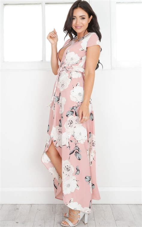 Adonia Maxi Dress Dusty Pink wrap and cross maxi dress in dusty pink floral showpo