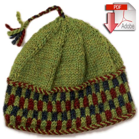 checkered knitting pattern checkerboard hat bulky weight pattern