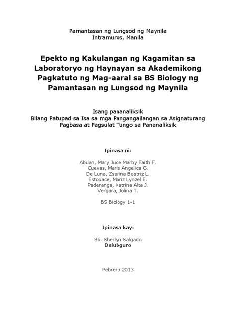abstrak ng thesis filipino epekto ng kakulangan ng kagamitan sa laboratoryo ng
