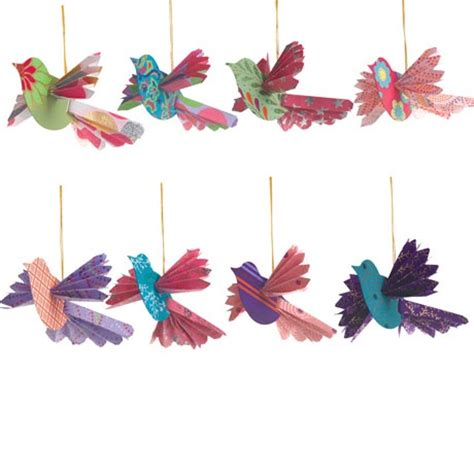 Handmade Paper Birds - handmade paper bird ornaments craft ideas