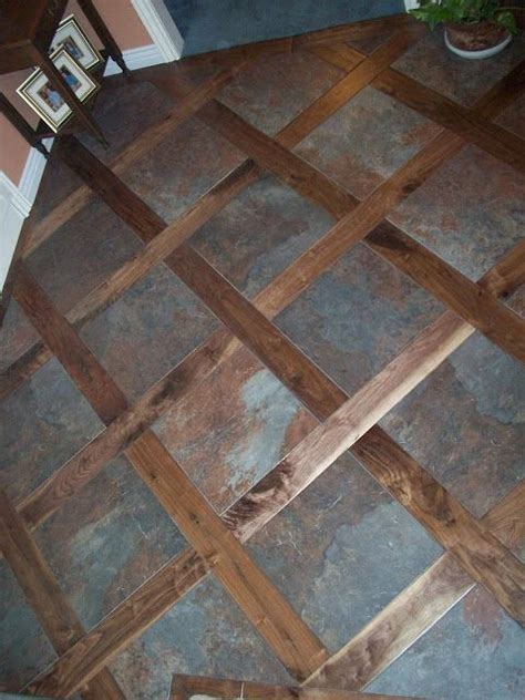 Tile Flooring Ideas A Custom Tile Wood Mixed Floor Idea For Transitioning From A Tile Floor To A Wood Floor