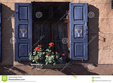 flowerbox deutschland window with flower box in germany stock photo image