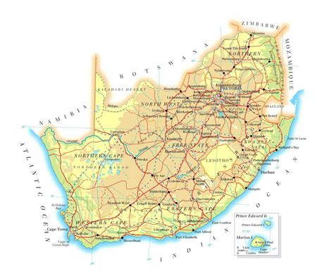 printable road map of southern africa road map of south africa with distances south african
