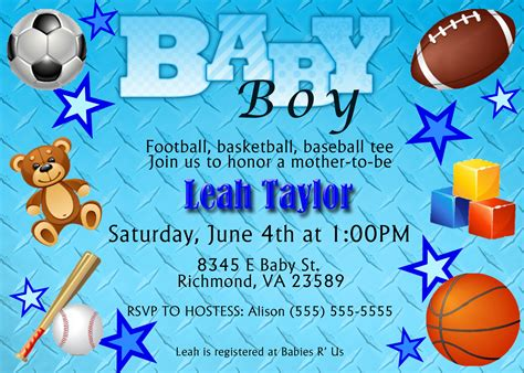 sports baby shower invitations templates free printable baby shower invitations for boys baby