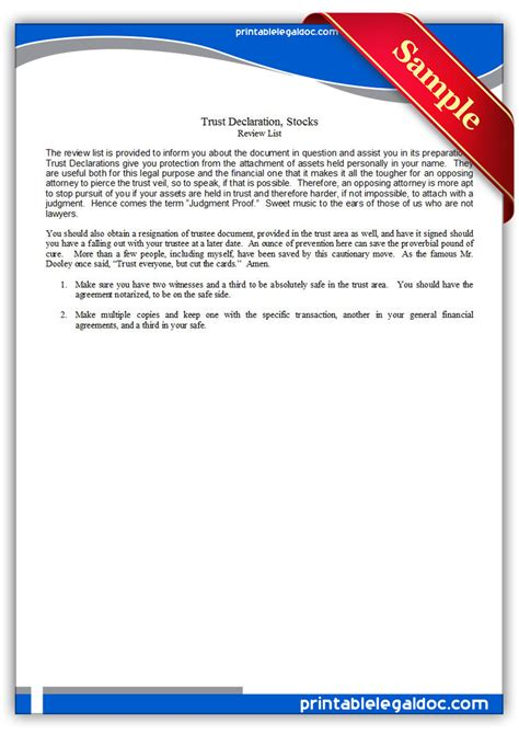 Free Printable Trust Declaration Stocks Form Generic Miller Trust Template