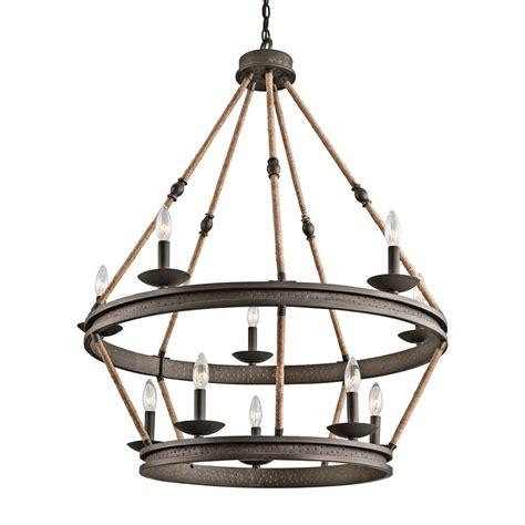 Hardwired Chandelier Shop Kichler Kearn 33 75 In 10 Light Olde Bronze Wrought Iron Hardwired Tiered Chandelier At