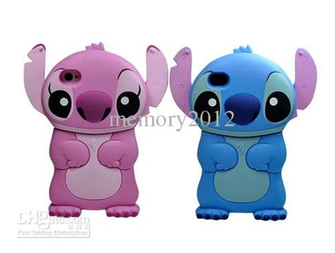 Disney Lilo Stitch Experiment Iphone 4 4s 5 5s 5c 6 6s 7 Plus 3d stitch back cover blue pink