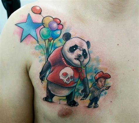 girl with panda tattoo on chest panda tattoo images designs