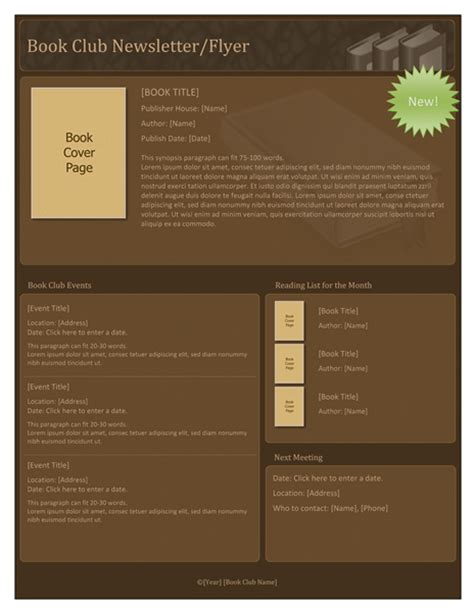 club newsletter templates book club flyer office templates