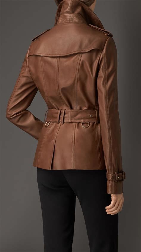 Burberry Style Leather burberry leather trench jacket in brown lyst