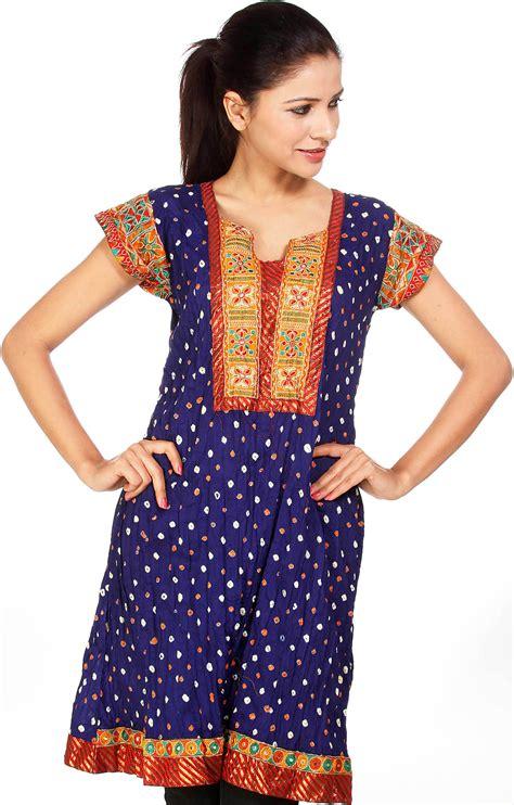 Gujrati Pattern Kurti | royal blue bandhani tie dye kurti from gujarat with