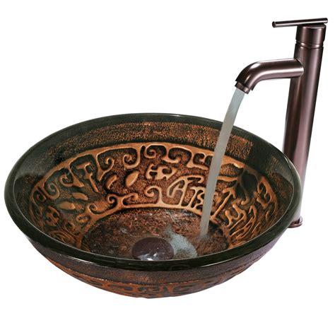 Handmade Vessel Sinks - vigo vgt127 copper mosaic handmade glass vessel sink and
