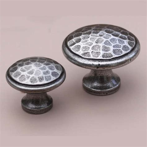 Cabinet Knobs by Pewter Colour Beaten Cabinet Knob