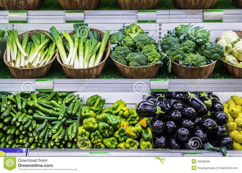 What Is The Shelf Of Vegetable by Fruits And Vegetables On A Supermarket Shelf Stock Photo Image 42048558