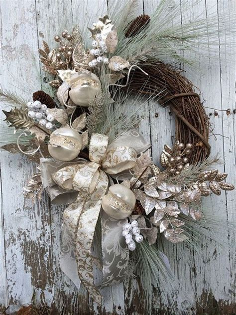 victorian christmas wreath silver and gold christmas