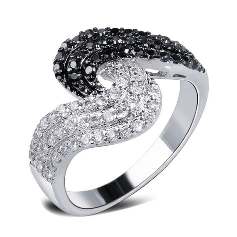 zirconia black and white ring for jewelry ring