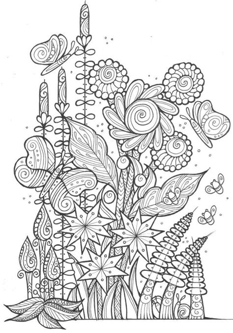 Butterflies and Bees Adult Coloring Page   Butterfly