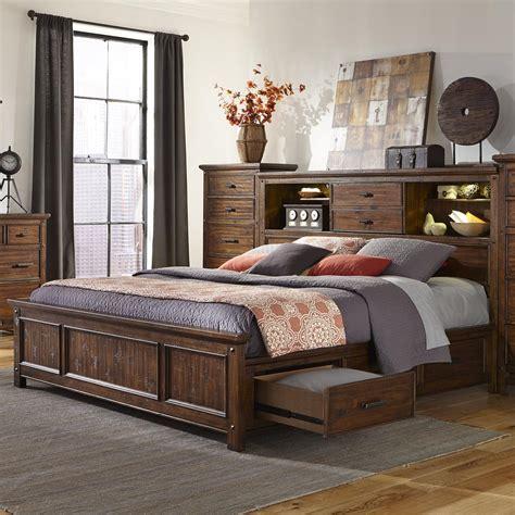 queen bookcase storage bed intercon wolf creek queen bookcase bed with storage rails