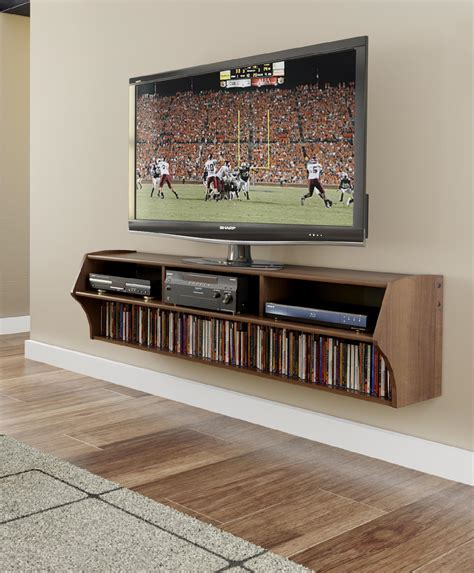 Tv On Shelf by Furniture Curvy Brown Wooden Floating Tv Cabinets With