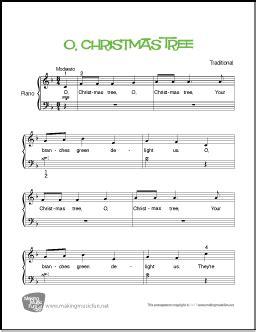 fre pdf piano solo o christmas tree o tree beginner piano sheet makingmusicfun net
