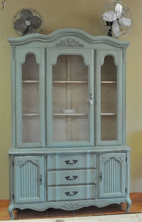 CUSTOM PAINTED Vintage French Provincial China Cabinet by
