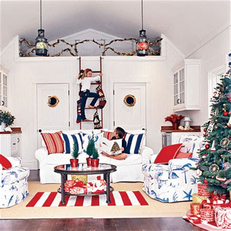 red white and blue home decor seaside inspired beach decor festive holiday rooms as seen in coastal living magazine