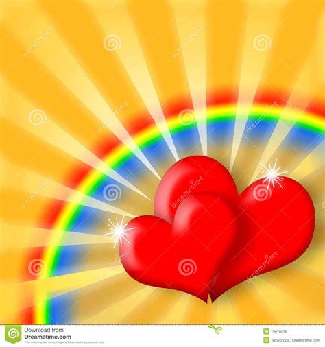 happy love hearts  rainbow royalty  stock image