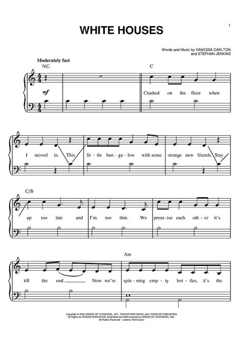 Vanessa Lee Carlton White Houses Sheet Music Onlinesheetmusic Com