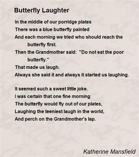 there was always laughter in our house books butterfly laughter poem by katherine mansfield poem