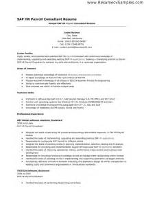 Accounting Consultant Cover Letter by Sap Hr Payroll Consultant Resume Sle Resumes Design