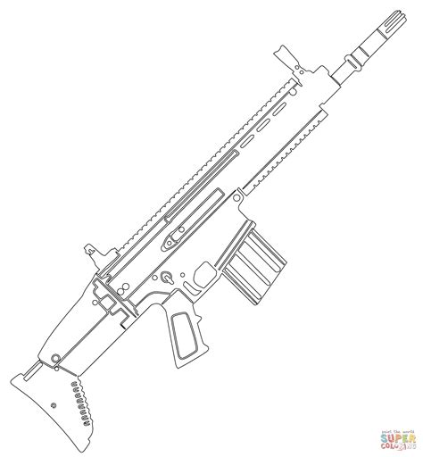 coloring pages of guns fn scar assault rifle coloring page free printable