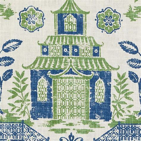 green toile curtains blue green asian toile linen upholstery fabric modern asian
