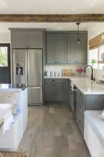 Light Grey Painted Kitchen Cabinets Kitchen Beams Gray Painted Cabinets And Stainless Steel With Light Countertops A Interior Design