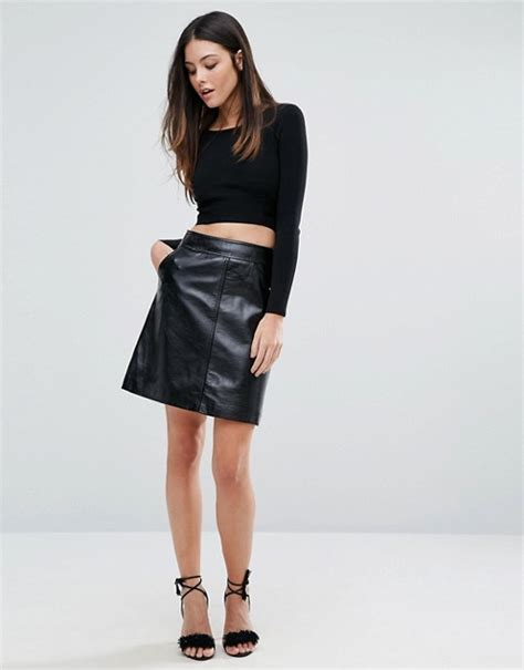 warehouse warehouse patent leather pelmet skirt
