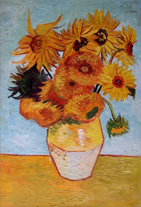 Vase With 12 Sunflowers by Framed Gogh Vase W Twelve Sunflowers Repro Quality