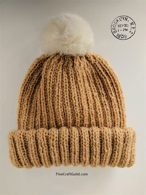 beanie knit hat pattern fur pompom beanie hat knitting pattern