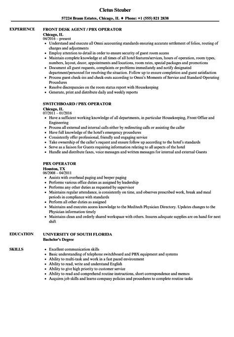 Hotel Pbx Operator Sle Resume by Hotel Pbx Operator Sle Resume Help Desk Coordinator Cover Letter