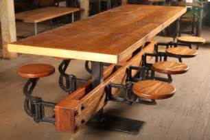 Vintage Industrial Dining Room Table Vintage Industrial Cast Iron Steel And Wood Swing Out Seat Dining Table For Sale At 1stdibs