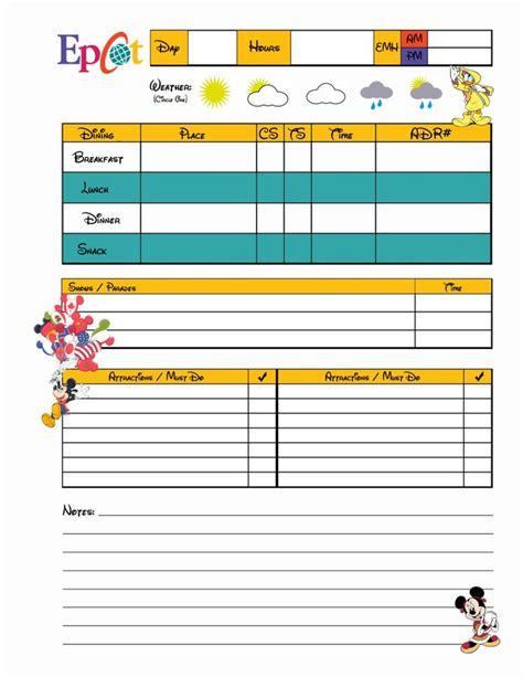 free printable disney planning sheets planning sheets disney world pinterest