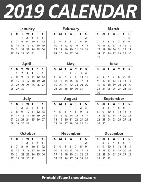 printable calendar for 2019 printable 5 year calendar 2014 2019 calendar template 2016