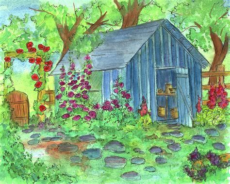 Potting Shed Plans Garden Potting Shed Painting By Cathie Richardson