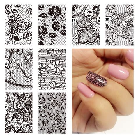 Nail Sticker Manicure Decoration Tatto 6 yzwle 1 pc diy nail water decals lace flower designs transfer stickers nail sticker