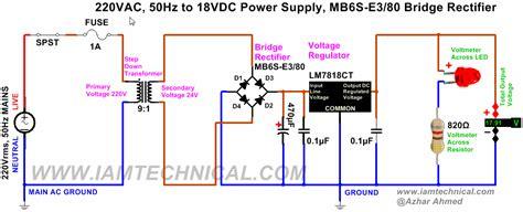 data dioda bridge 220v ac to 18v dc regulated power supply using lm7818ct bridge rectifier mb6s e3 80