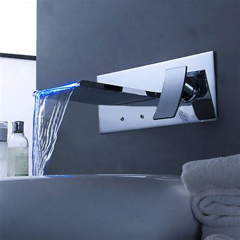Waterfall Faucet India by Chrome Led Color Bathroom Wall Mount Waterfall Brass